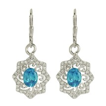 925 Sterling Silver Fashionable Blue And White Topaz Gemstone Earring SHER0012 - $12.19