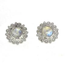 Shine Jewel Rainbow Moonstone Solid 925 Sterling Silver Earring Stud SHER0135 - $12.19