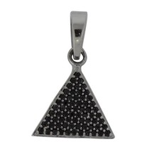 Triangle Black Spinal Box Gemstone 925 Sterling Silver Rhodium Pendant SHPN0149 - $8.39