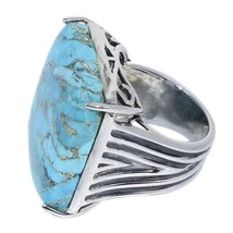 Huge Solid 925 Sterling Silver Blue Turquoise Jewelry Ring Sz 7 SHRI0140 - £14.78 GBP