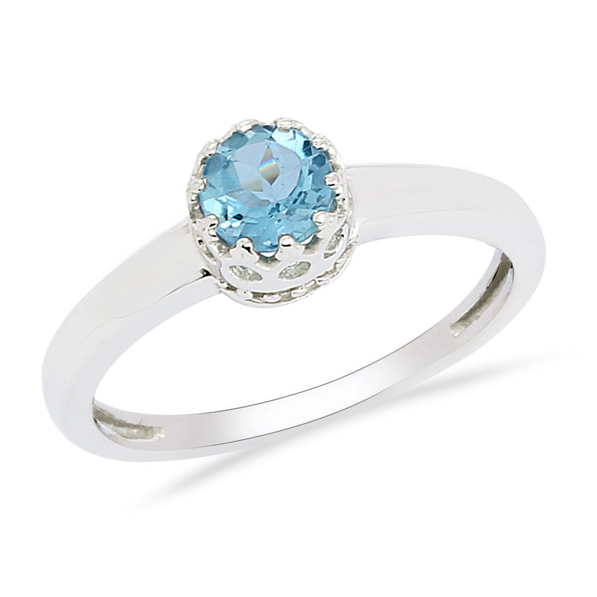Gorgeous Crown 925 Sterling Silver Blue Topaz Gemstone Jewelry Ring S 7 SHRI0157