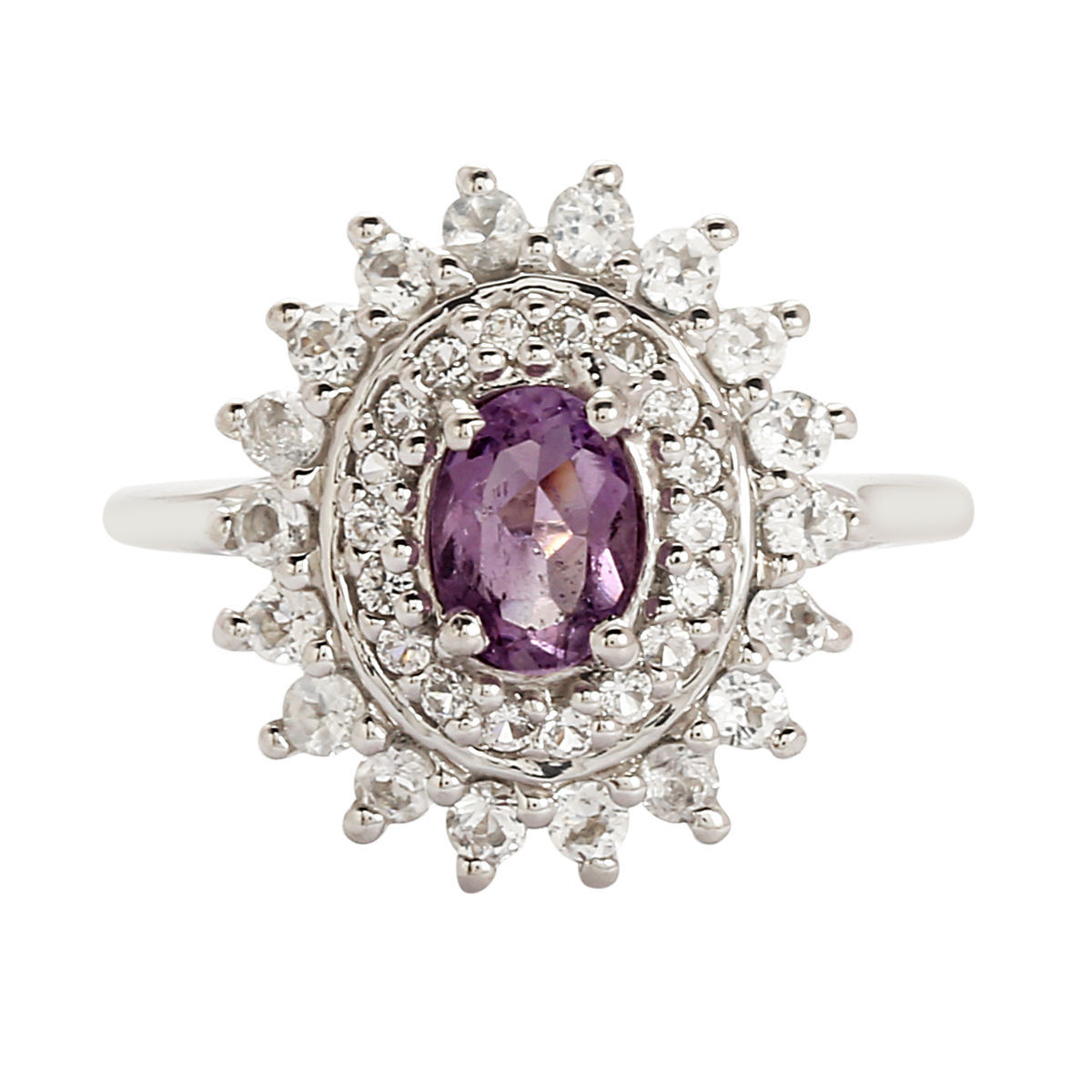 Solid 925 Sterling Silver With 7X5 MM Oval Amethyst And White Topaz Ring US 8
