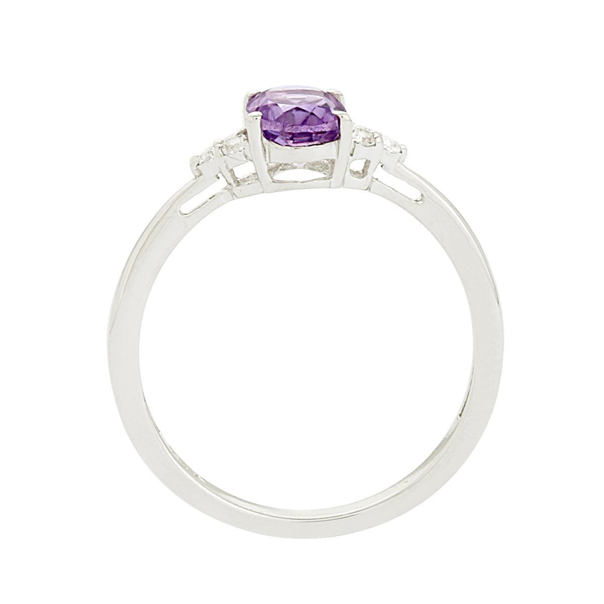 Solid 925 Sterling Silver Oval Amethyst Gemstone Jewelry Ring Sz 7 SHRI0169