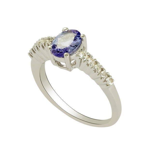 Natural Royal Blue Tanzanite 925 Sterling Silver Jewelry Ring US Size 7 SHRI0014