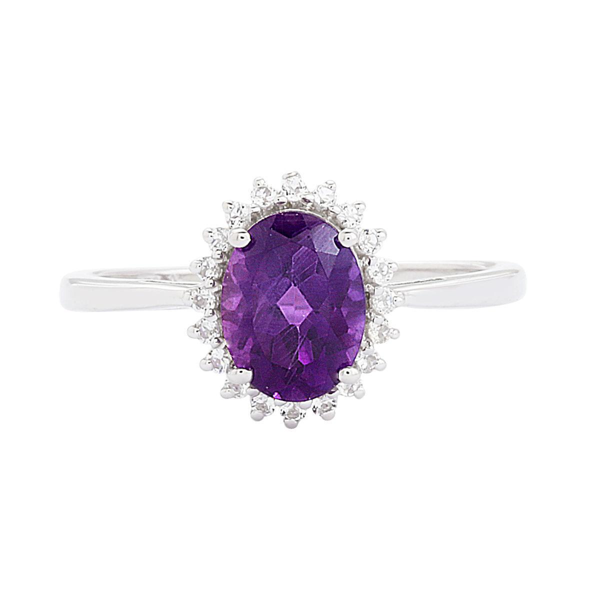 Trendy Solid 925 Sterling Silver Amethyst Gemstone Jewelry Ring Sz 7 SHRI0158