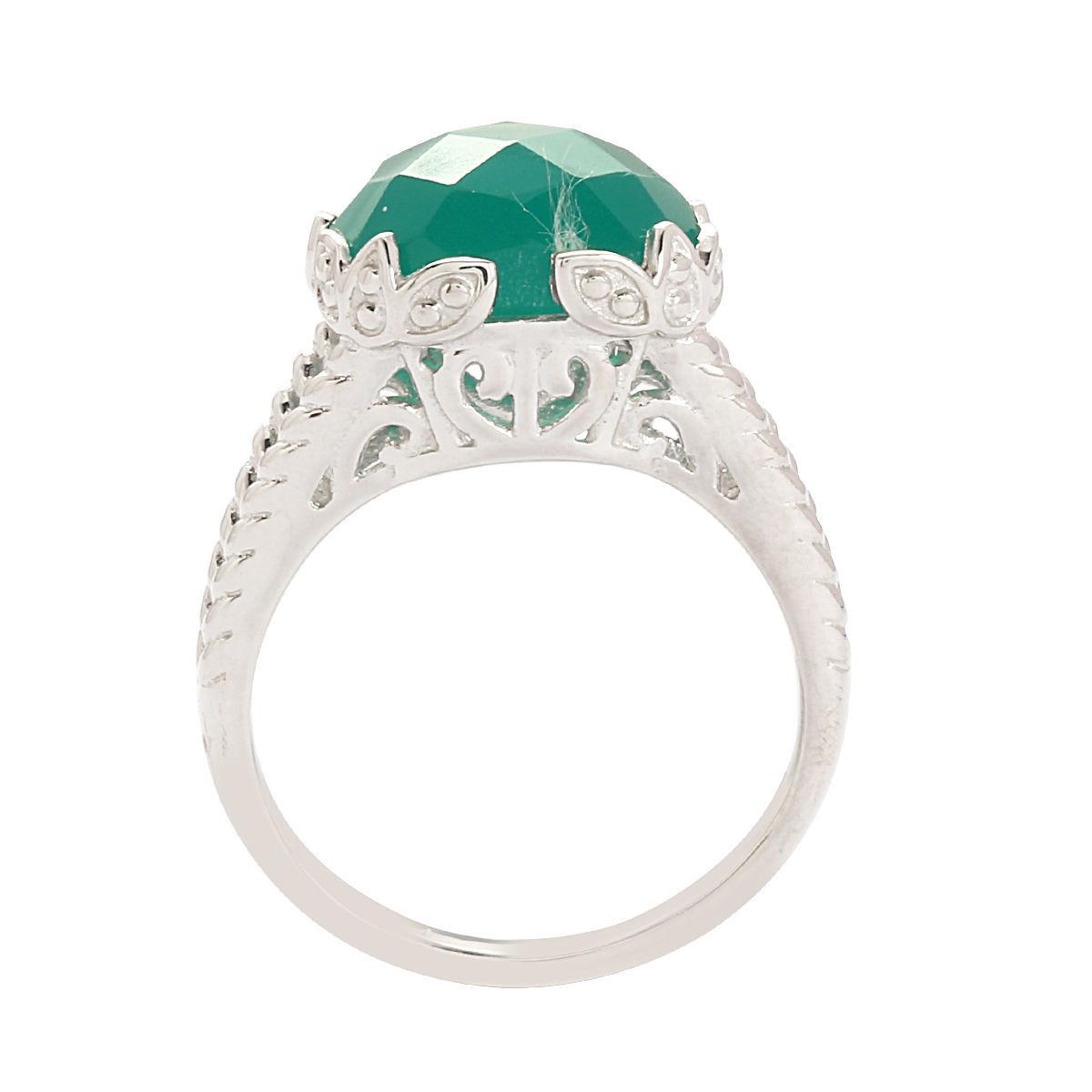 Shine Jewel 12 MM Green Onyx 925 Sterling Silver Jewelry Ring SZ 8 SHRI0280