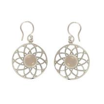 Designer Rose Quartz Gemstone 925 Sterling Silver Jewelry Earring SHER0174 - $16.79