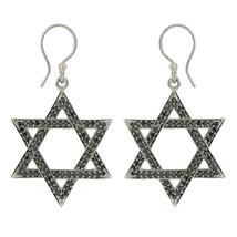 Hoop Star Solid 925 Sterling Silver Black Rhodium Black Spinal Earring S... - $16.73
