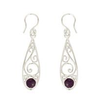 Bezel Designer Amethyst Gemstone 925 Sterling Silver Jewelry Earring SHER0176 - $12.22
