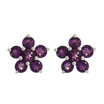Designer Amethyst Jewelry Solid 925 Sterling Silver Earring Stud SHER0002 - $14.01