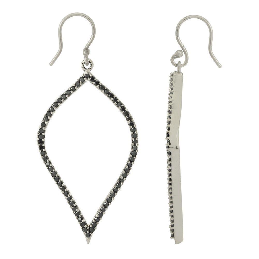 Hoop Royal Solid 925 Sterling Silver Black Rhodium Black Spinal Earring SHER0042