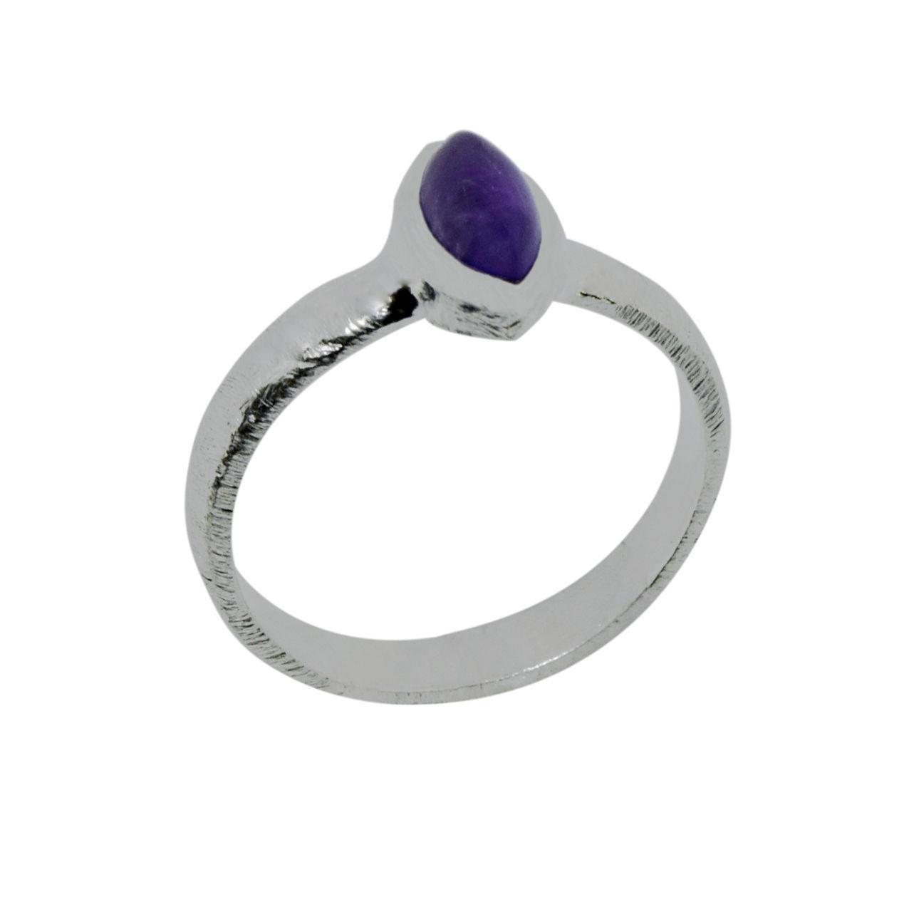 Marquise Amethyst Gemstone Solid 925 Sterling Silver Jewelry Ring Sz 6 SHRI0312