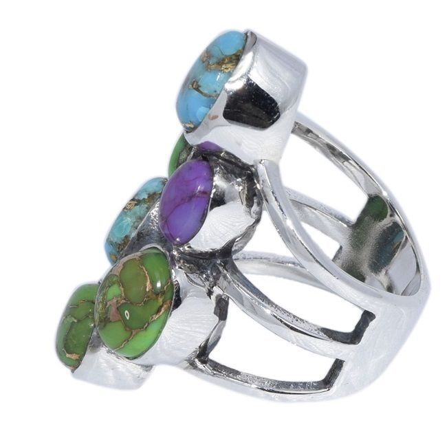 Stacking Multi Turqouise Solid 925 Sterling Silver Ring Sz US 7 Jewelry SHRI0146