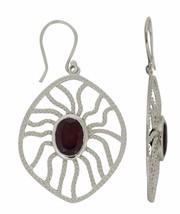 Wire Handmade Design Garnet Gemstone Sterling Silver Jewelry Earring SHER0172 - $24.76