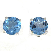 Shine Jewel 925 Sterling Silver Round Blue Topaz Jewelry Stud Earring SH... - $21.94
