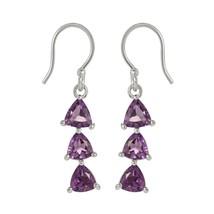 Party Wear Purple Amethyst Gemstone Solid 925 Sterling Silver Earring SHER0001 - $14.95