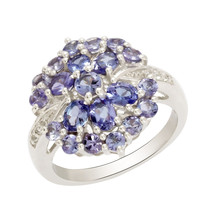 2.33 CARAT TANZANITE COCKTAIL 925 STERLING SILVER JEWELRY RING SZ 7 SHRI... - $47.92