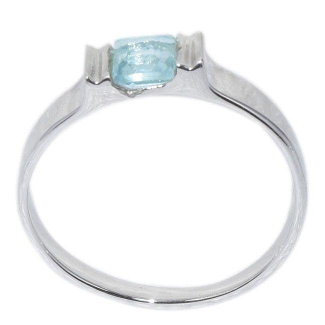925 Sterling Silver Blue Topaz Gemstone Small Tiny Jewelry Ring US 7 SHRI0152
