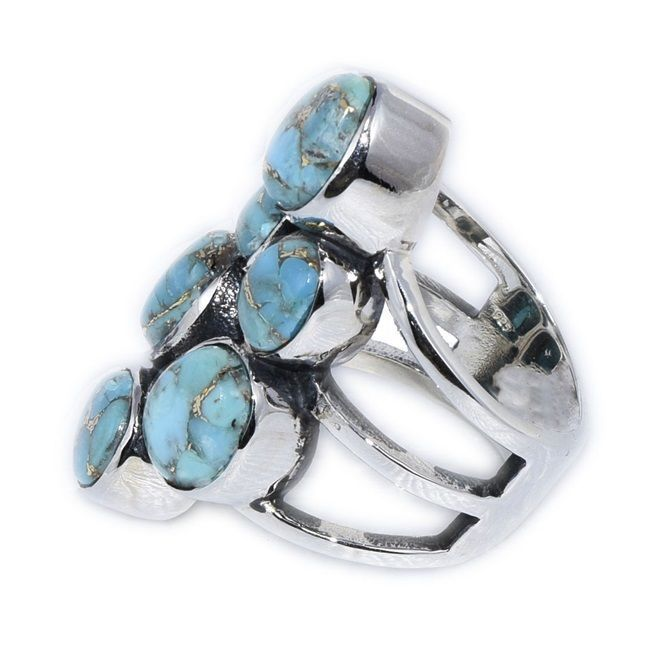Five Turquoise Gemstone Jewelry 925 Sterling Silver Ring US Sz 6 SHRI0136