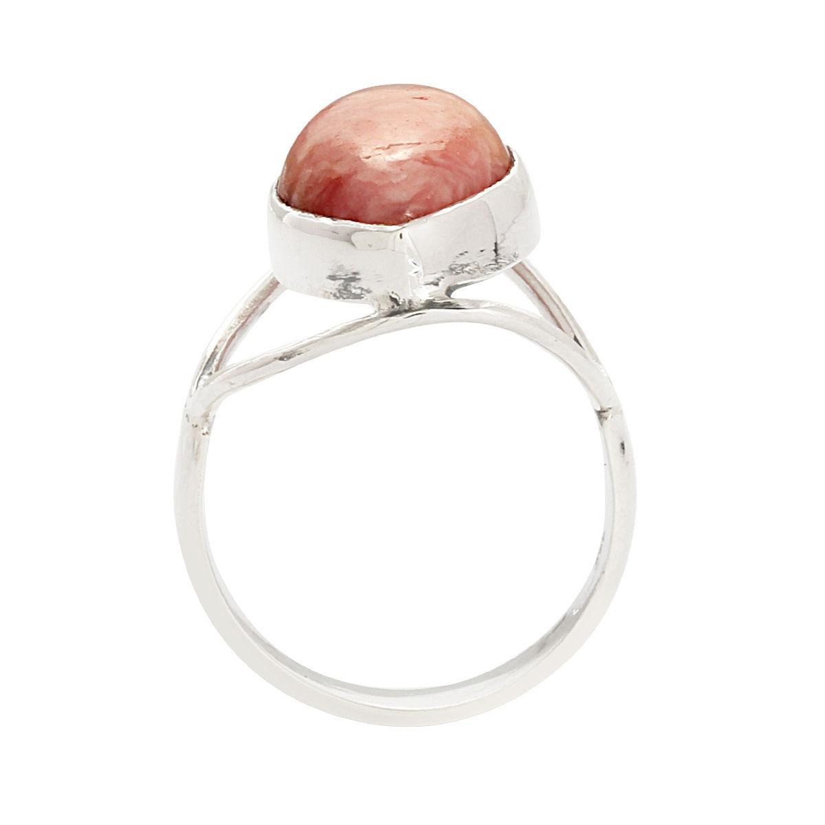 Pear Pink Rhodochrosite Gemstone Jewelry 925 Sterling Silver Ring SZ 8 SHRI0292