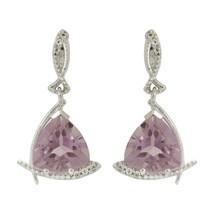 925 Solid Sterling Silver Amethyst White Topaz Gemstone Hook Earring SHER0025 - $15.88