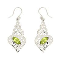 Filigree Peridot Gemstone Solid 925 Sterling Silver Jewelry Earring SHER0185 - $20.25