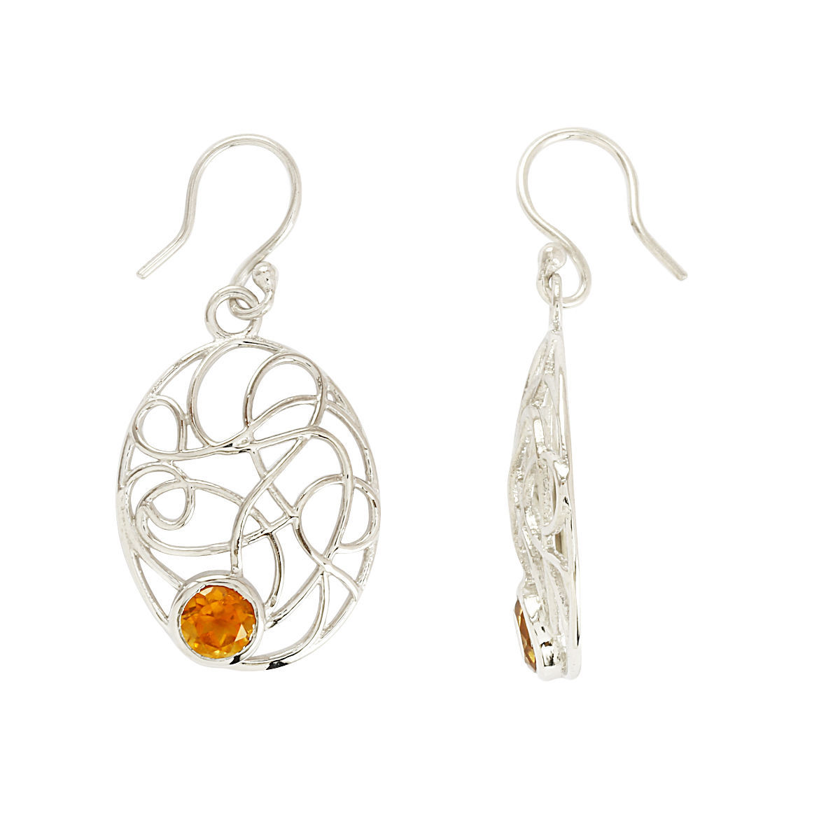 5 MM Citrine Gemstone Handmade Solid 925 Sterling Silver Jewelry Earring SHER178