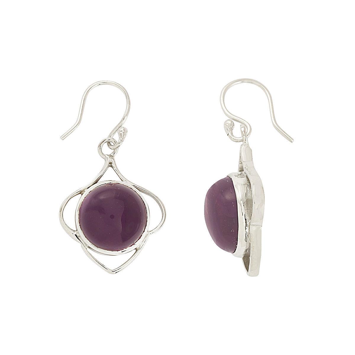 Handmade Amethyst Gemstone Solid 925 Sterling Silver Jewelry Earring SHER0183