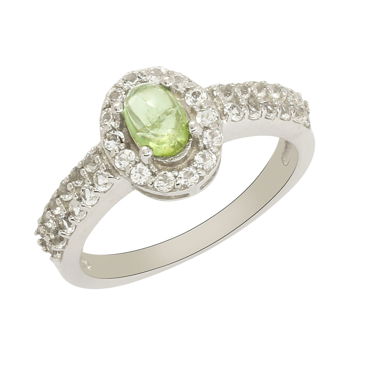 White Topaz n Tourmaline Solid 925 Sterling Silver Jewelry Ring Size 7 SHRI0212