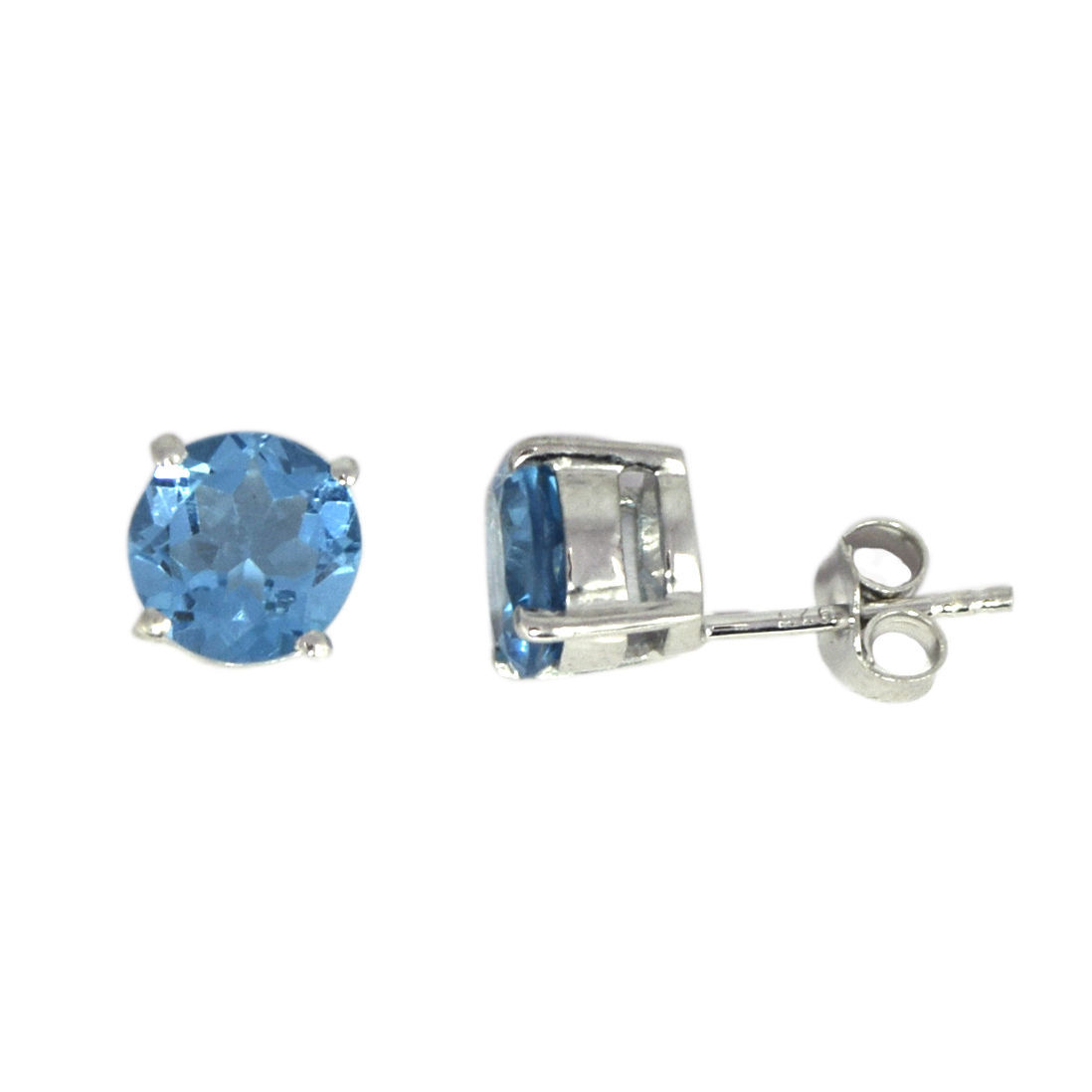 Shine Jewel 925 Sterling Silver Round Blue Topaz Jewelry Stud Earring SHER140