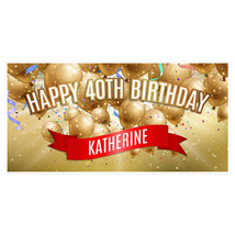 40th Birthday Banner Golden Balloons Party Backdrop Decoration-Any Age - $22.28+
