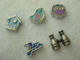 S49 Charms for Memory locket Jewelry Floating Charms Jewelry Bird Watching set 5 - $1.50