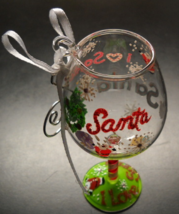 Lolita Christmas Ornament I Love Santa Mini Wine Glass Candy Cane Stem R... - $8.99