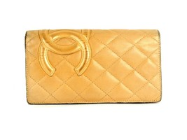 Auth Chanel CC Cambon Line Lambskin Beige Quilted Leather Bi-fold Long W... - $256.41