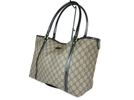Auth GUCCI GG Web PVC Canvas Leather Browns Tote Bag GT2160 - $349.00