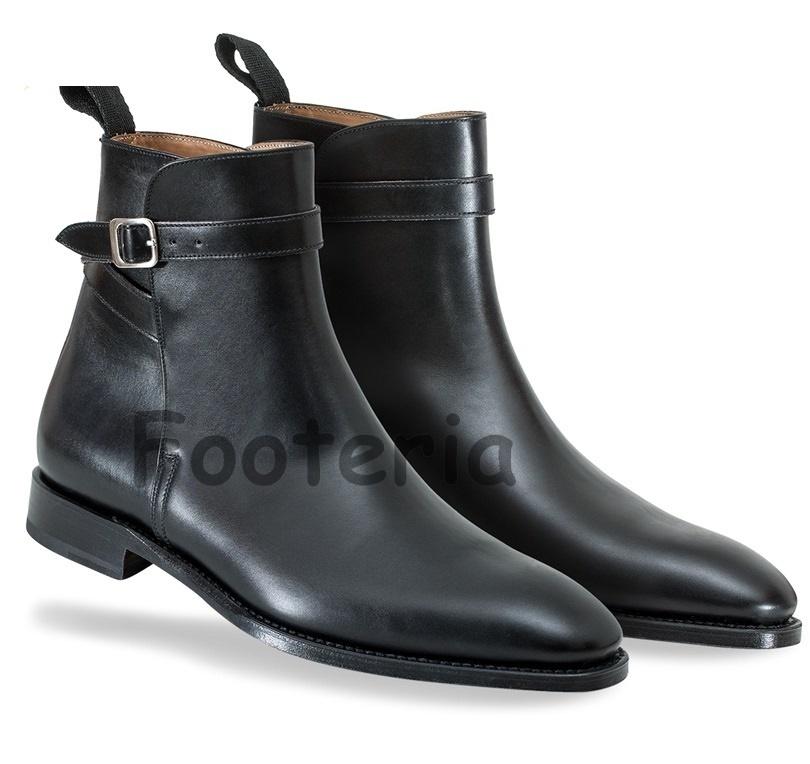 handmade black jodhpur boots buckle boot for
