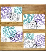 Teal and Gray Wall Art Prints Home Decor Floral Flower Purple Dream Peony Dahlia - $13.51