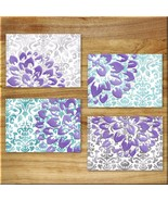Purple Teal Aqua Gray Wall Art Prints Decor Modern Abstract Damask Flora... - $14.89