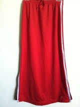 NIKE long SKIRT side zip silver red swoosh logo front RARE 4-6 drawstrin... - $34.00