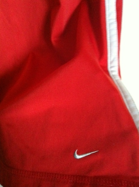 NIKE long SKIRT side zip silver red swoosh logo front RARE 4-6 drawstring waist