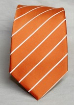 Puccini Orange & White Stripe 100% Men's Necktie   w-3 1/2  - $10.93