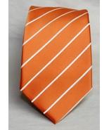 Puccini Orange & White Stripe 100% Men's Necktie   w-3 1/2  - $10.93