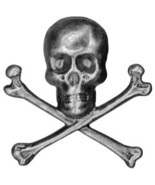 Skull and Crossbones 1pc antique nickel embellishment cross stitch acces... - $1.20