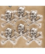 Skull and Crossbones 6pcs antique nickel embellishment cross stitch acce... - $4.00