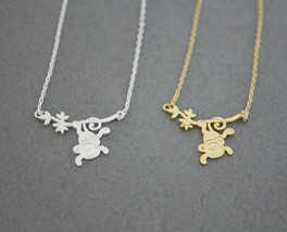 Cute Monkey Hanging from Tree Necklace in 2 colors, N0574G - $12.00