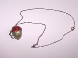 Egg Jewelry Swarovski Red and Silver Button Quail Egg Acorn Pendant Hand... - $20.00