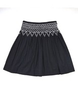 "BCBG MAX AZRIA Skirt Light Pleated Black Cotton A Line Knee Length 30"" W... - $7.91"