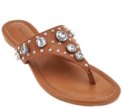 Marc Fisher Thong Sandals Faux Jewel Studs Accents Gissel Tan 6M NEW A26... - $30.66