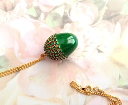 Egg Jewelry, Swarovski, Emerald, Button Quail Egg, Acorn Pendant, Egg Ar... - $20.00