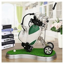 Mini desktop golf bag pen holder with lawn base and golf pens 6-piece se... - $22.51